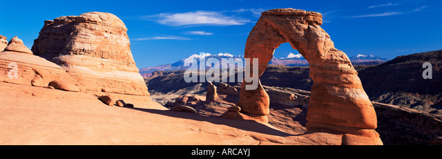 Delicate Arch, Arches National Park, Moab, Utah, United States of America (U.S.A.), North America - Stock Image