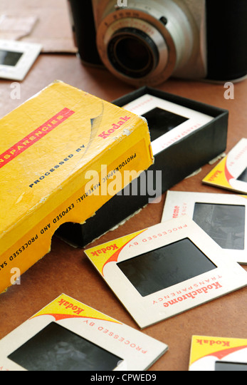 Box of old Kodak Kodachrome Transparencies - Stock-Bilder