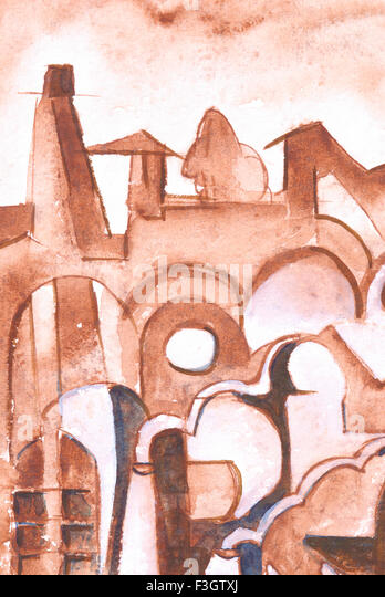 Abstract ; cityscape watercolor on handmade paper - Stock-Bilder