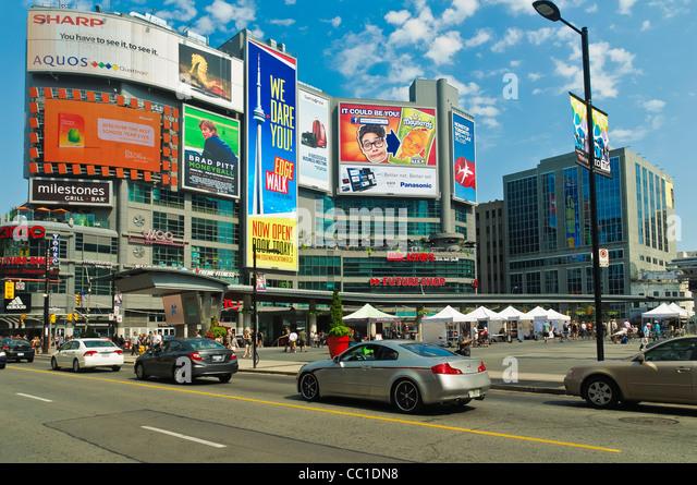 Advertising Billboards at Yonge-Dundas Square,in downtown Toronto, Ontario,Canada - Stock Image