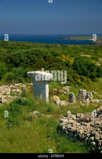 Taula of Sa Torreta Torre Blanca Albufera Natural Parc des Grau Menorca Biosphere Reserve Balearic Islands Spain - Stock Image