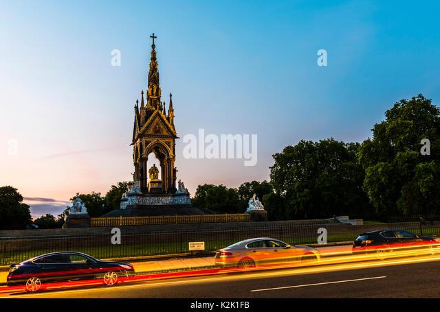 Albert Memorial and lights at dusk, London, UK - Stock Image