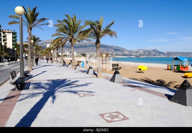Promenade of Stars, El Paseo de Estrellas, celebrities, waterfront, beach promenade, Albir, Altea, Costa Blanca, - Stock Image