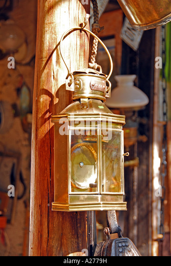 Chile Santiago Pueblito de Los Domínicos shopping  brass lamp - Stock Image