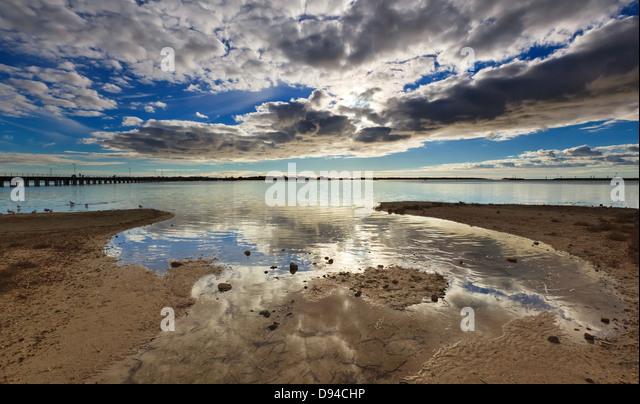 jetty foreshore sea port pier Port Broughton Jetty York Peninsula South Australia Australian seascape seascapes - Stock Image