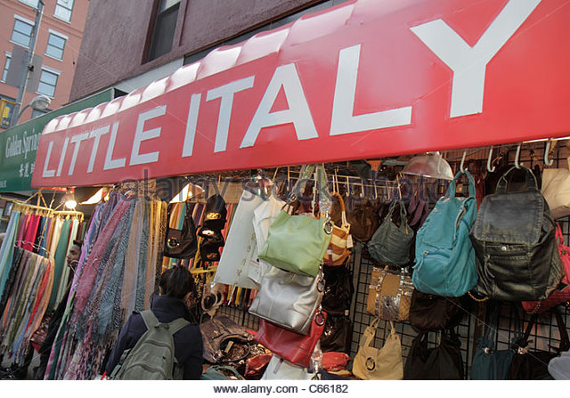New York New York City NYC Lower Manhattan Little Italy Mulberry Street ethnic neighborhood shopping store business - Stock Image