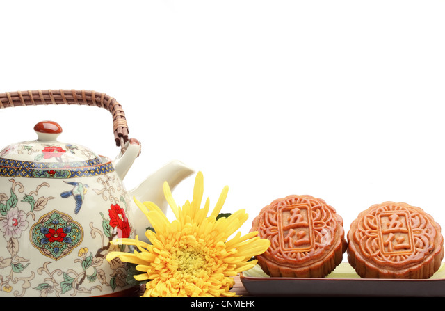 Mooncake and tea,food and drink for Chinese mid-autumn festival. - Stock-Bilder