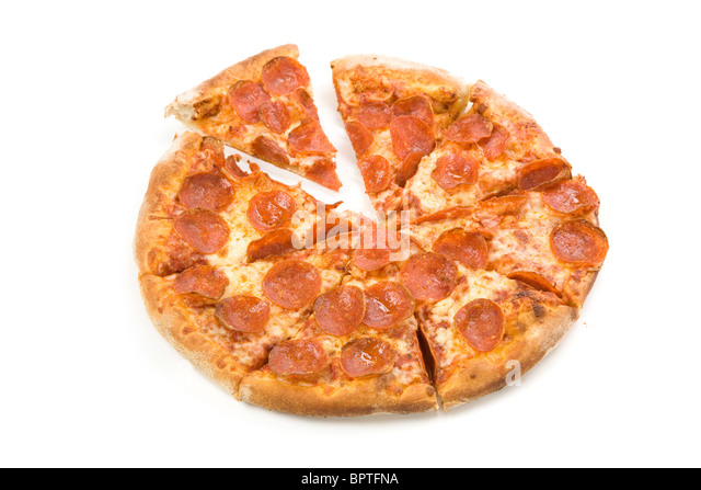 Cheese and sausage Pizza with white background, close up - Stock Image