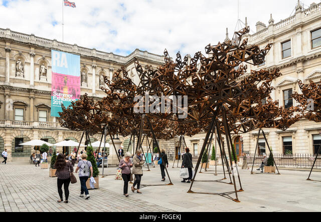 A sculpture by Conrad Shawcross called The Dappled Light of the Sun in the courtyard of The Royal Academy of Arts, - Stock Image