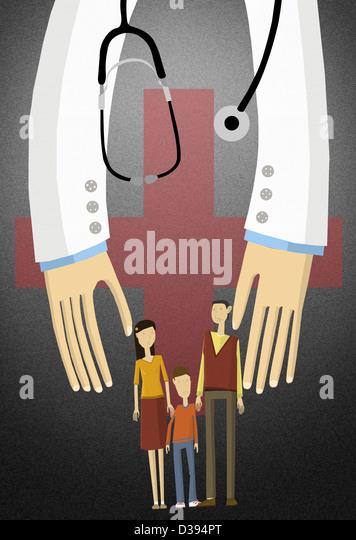 Illustrated shot of a family covered under medical insurance - Stock-Bilder