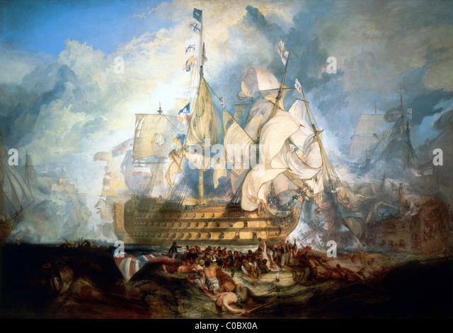 The Battle of Trafalgar. - Stock Image