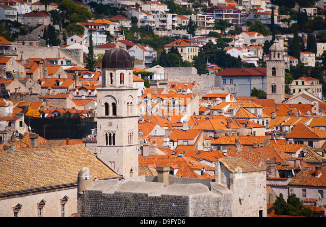 Franciscan Monastery and Dominican Monastery, Old Town, UNESCO World Heritage Site, from Fort Lovrijenac, Dubrovnik, - Stock-Bilder