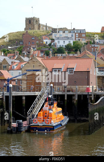 Whitby RNLI Lifeboat station,Whitby Harbour, Whitby, North Yorkshire, UK - Stock Image