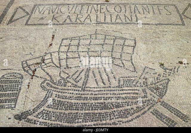 Rome. Italy. Ostia Antica. Mosaic of Roman merchant grain ship from Cagliari, Sardinia, 1st/ 2nd century AD, on - Stock Image