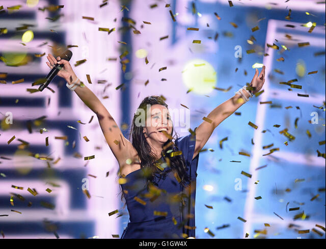 "Stockholm, Sweden. 14th May, 2016. Jamala representing Ukraine with ""1944"" wins the Grand Final of the - Stock Image"