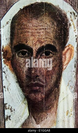Funerary portrait of an unknown Roman Male. The portrait was discovered in Egypt. - Stock Image