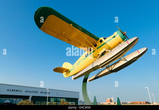Float plane outside Alberta Aviation Museum, Edmonton, Alberta, Canada - Stock Image