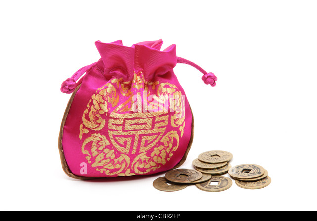 Money bags with coins,Chinese new year concept. - Stock Image
