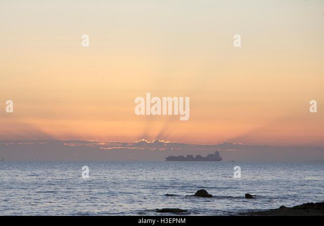 Cargo Ship, sea route, Melbourne, Australia - Stock Image
