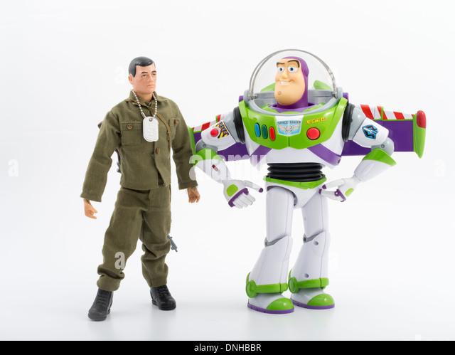 1964 G.I. Joe with 2000's Buzz Lightyear.  Iconic children's toys - Stock Image