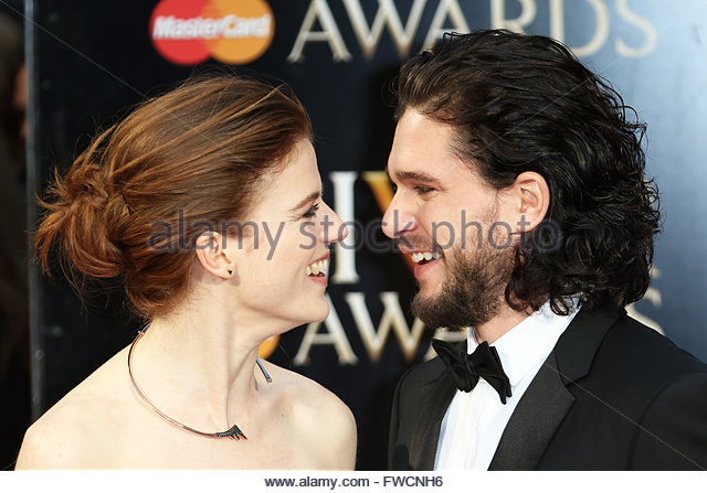 London,Great Britain. April 3rd, 2016. UK, London: Rose Leslie and Kit Harington hits the red carpet for the Olivier - Stock Image