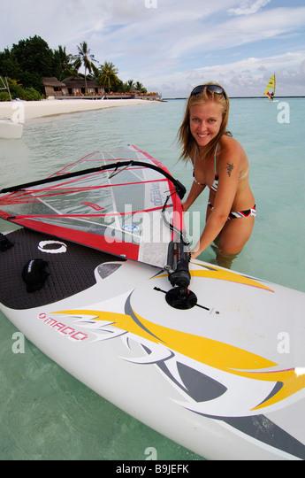 Wind surfing teacher, Full Moon Resort, Maldives, Indian Ocean - Stock Image