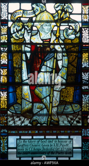 Southwark Cathedral London England Stained Glass Window of St Thomas of Canterbury in Memory of Geoffrey Chaucer - Stock Image