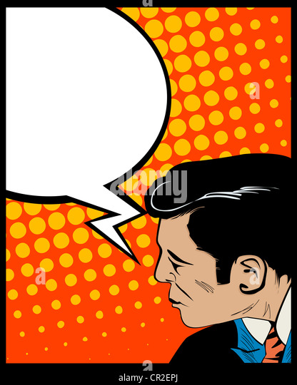 Pop Art style graphic with man and speech bubble - Stock Image