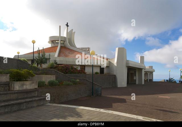 Modern Catholic Church in the village of Camacha, Madeira - Stock Image