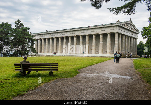 Neo-classical Walhalla hall of fame on the Danube. Bavaria, Germany, Europe - Stock Image