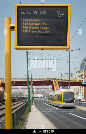 Carris departures and arrivals board at a bus stop in Lisbon Portugal - Stock-Bilder
