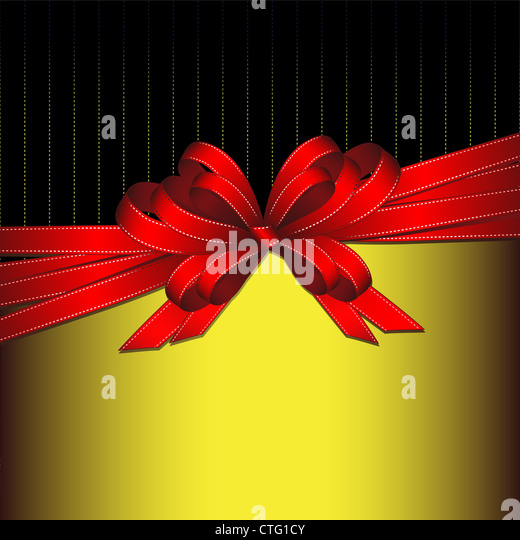 red  bow background - Stock Image