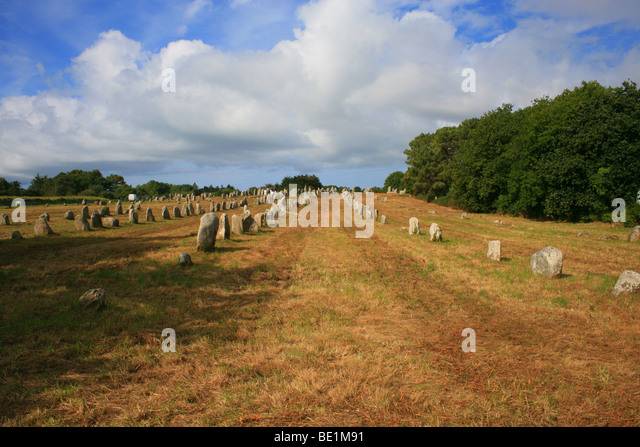 megaliths at Kermario outside Carnac, Morbihan, Britanny, France, Europe - Stock Image