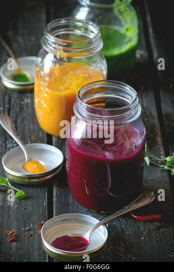 Assortment of vegetable smoothies - Stock Image