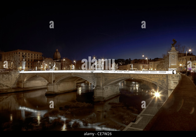 Ponte Vittorio Emanuele II is a bridge built in Rome, designed by the architect in 1886 by Ennio De Rossi. - Stock Image