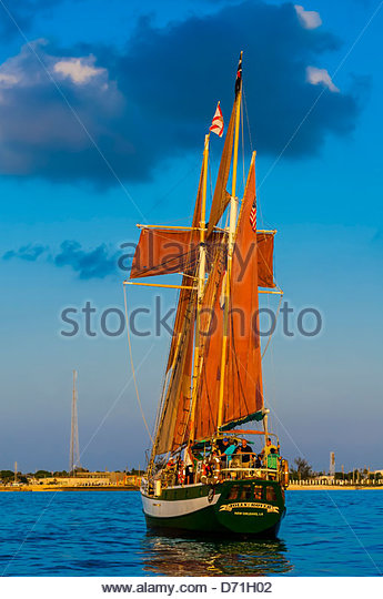 Jolly Rover II sailing off Key West, Florida Keys, Florida USA - Stock Image
