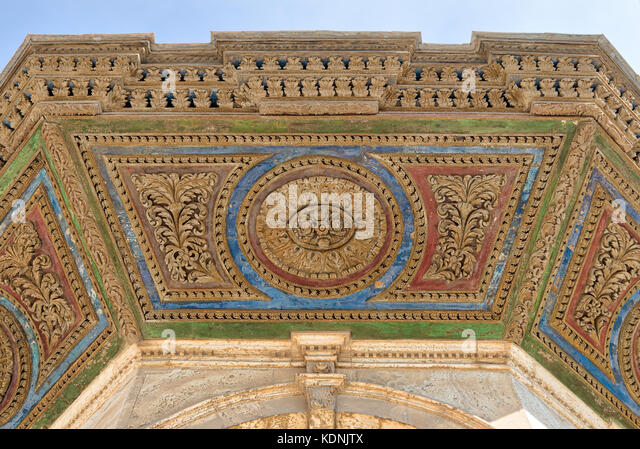 Colorful decorative panel of the ceiling of ablution fountain in front of the Great Mosque of Muhammad Ali Pasha - Stock Image