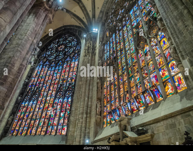 Interior from the duomo in Milan, Italy - Stock Image