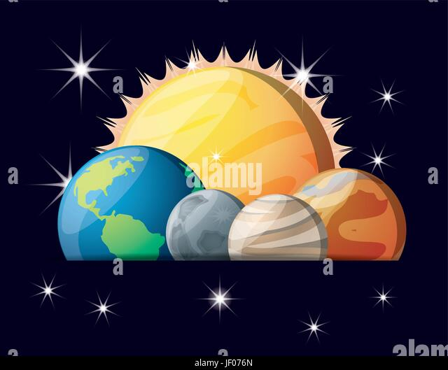 sun with planets of solar system in the universe - Stock Image