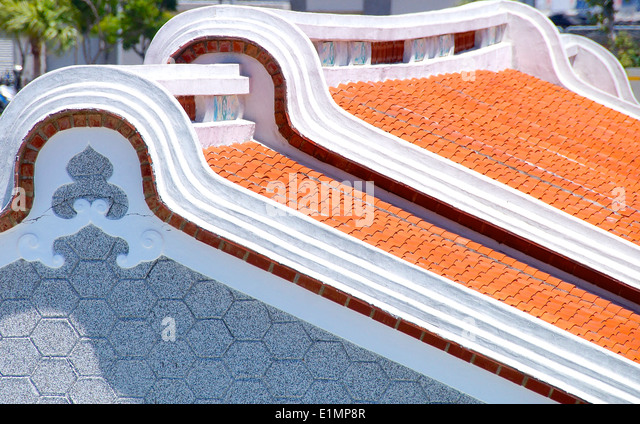 A row of nostalgic roofs on a closeup - Stock Image