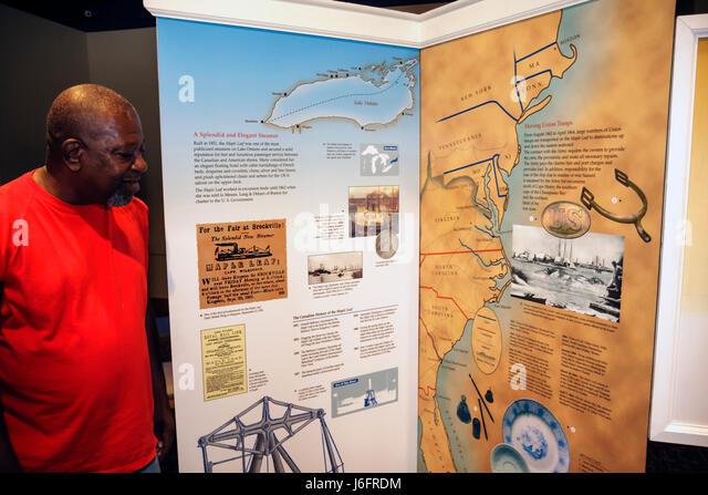 Wisconsin Kenosha Civil War Museum Black man history exhibit Maple Leaf steamer ship map Union transport shipwreck - Stock Image