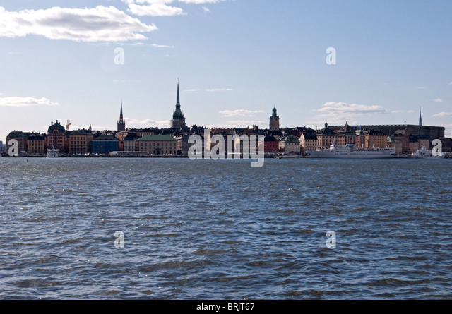 Stockholm from the sea. - Stock Image