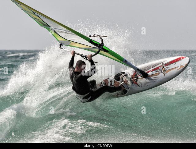 Windsurfing in Tarifa, Cadiz, Andalusia, Spain. - Stock Image