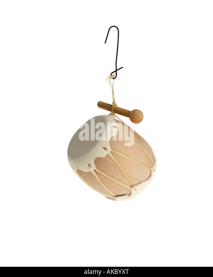 leather drum Christmas tree ornament hanging on hook - Stock Image