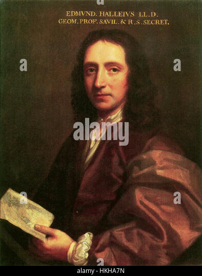 EDMOND HALLEY (1656-1742) English mathematician and astronomer painted by Thomas Murray about 1686 - Stock Image