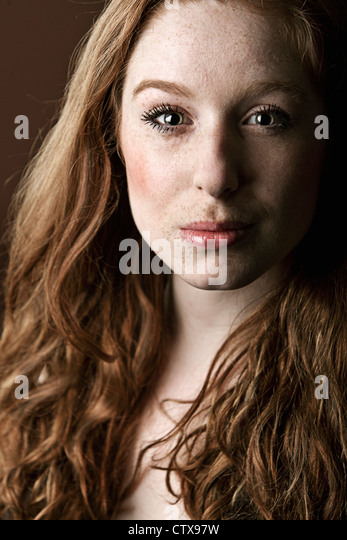 Beautiful Red Headed Girl - Stock Image