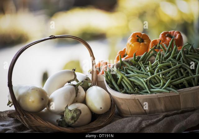 Woodstock New York USA Organic Vegetables Eggplant Beans Bell Peppers - Stock Image