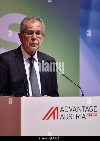 Austrian President Alexander Van der Bellen attends the Austrian-Czech Business Forum in Prague, Czech Republic, - Stock-Bilder