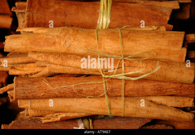 Castries St Lucia local spices cinnamon sticks produce market - Stock Image
