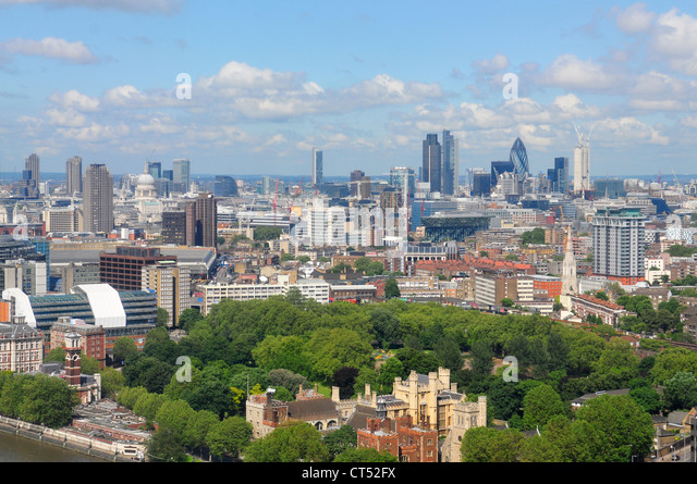 Skyline of London looking East towards The City of London, as seen from The Millbank Tower - Stock Image